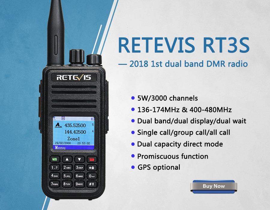 Retevis RT3S Dual Band DMR Digital Two Way Radio with GPS